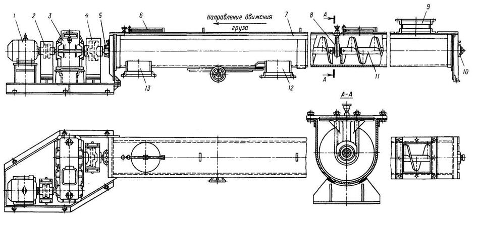 Конвейер винтовой рисунок скребковый транспортер тоц 16 4