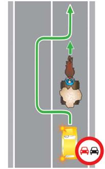 движение в населенном пункте с синим знаком